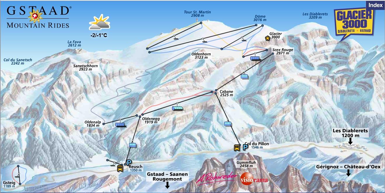 Gstaad Glacier 3000 Piste / Trail Map