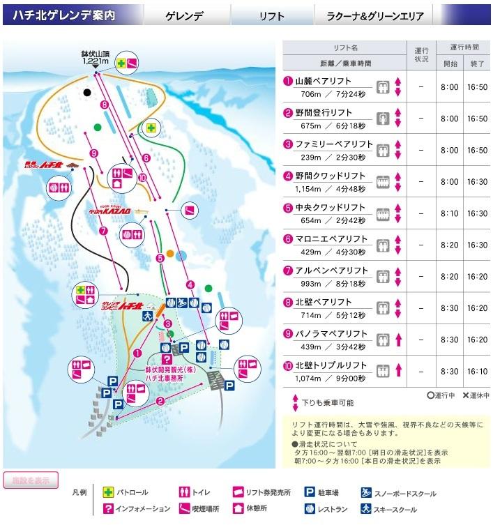 Hachi Kōgen Piste / Trail Map