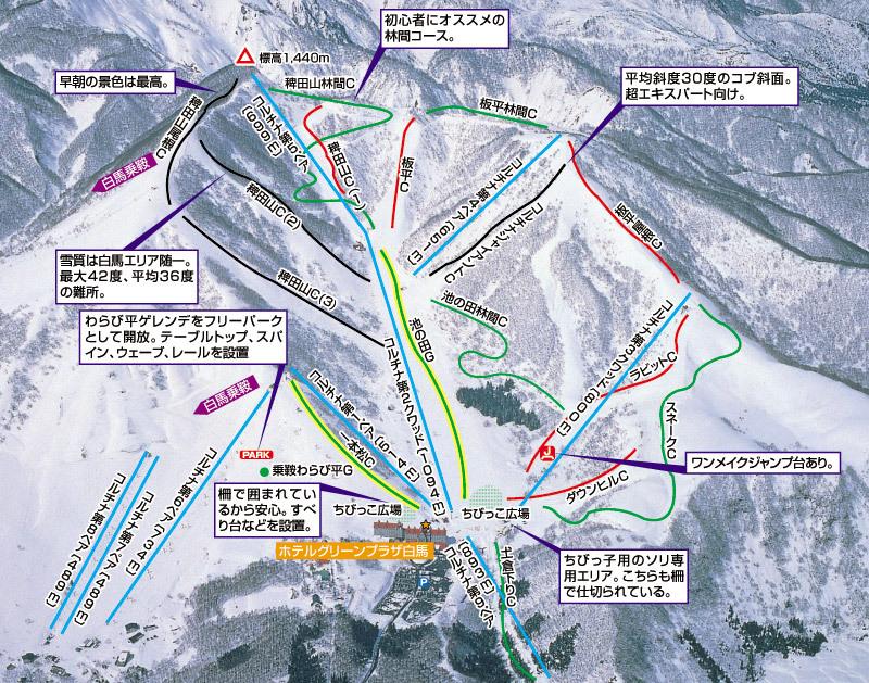 Hakuba Cortina Kokusai Piste / Trail Map