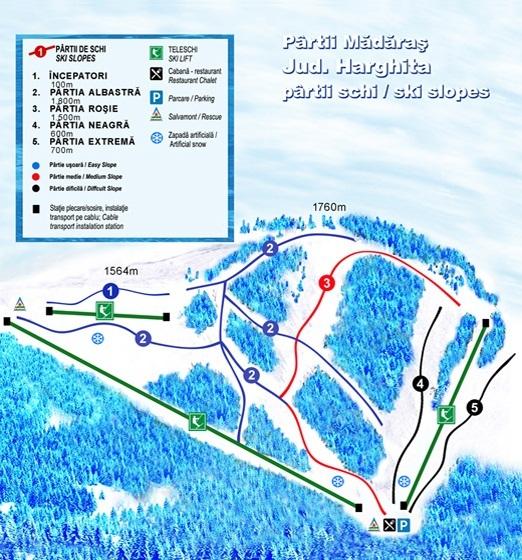 Harghita Mădăraş Piste / Trail Map