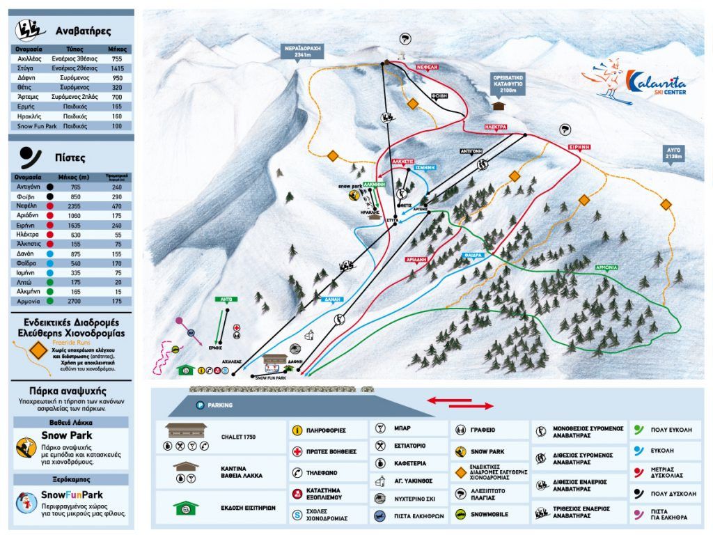 Kalavryta Ski Resort Piste / Trail Map