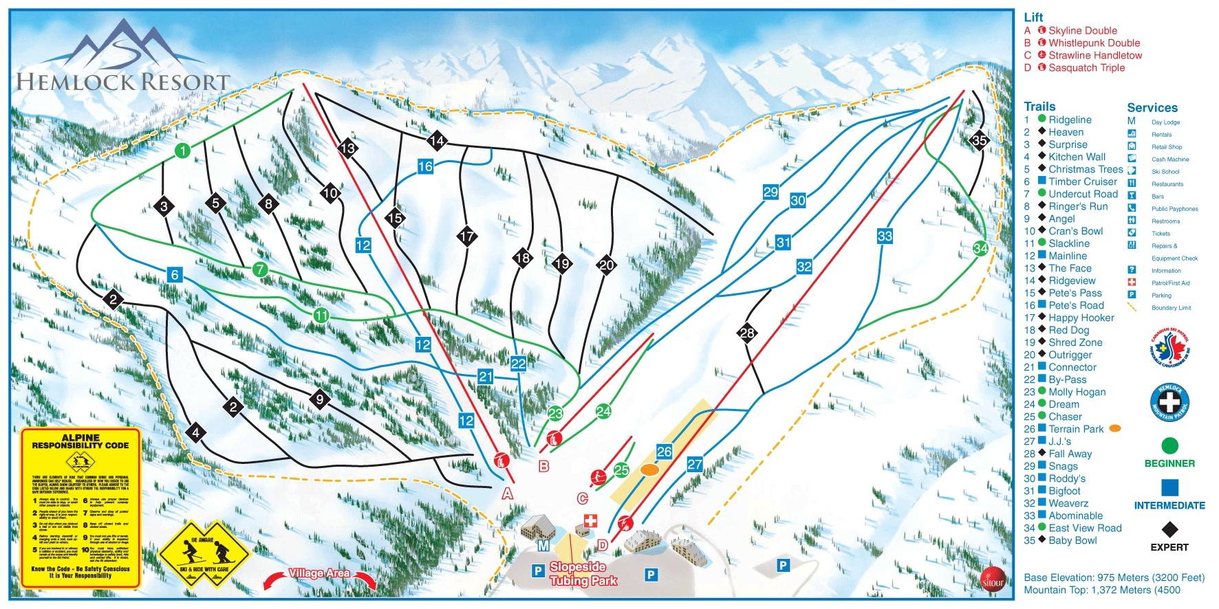 Sasquatch Mountain Resort Piste / Trail Map