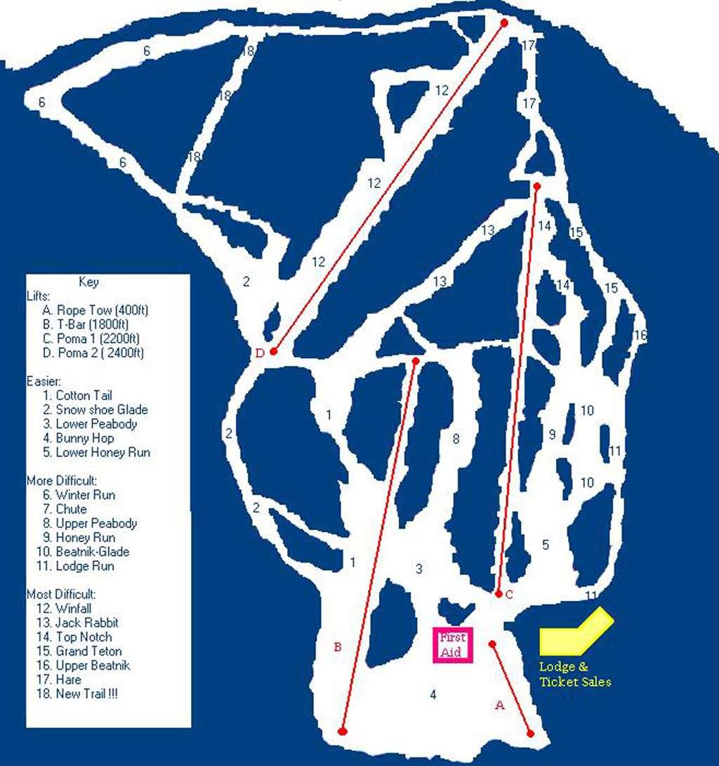 Hickory Ski Center Piste / Trail Map