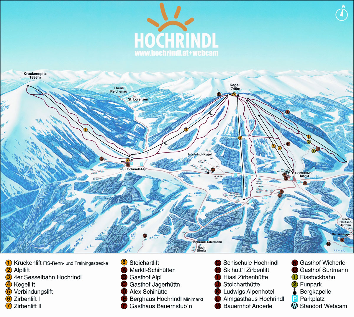 Hochrindl Piste / Trail Map