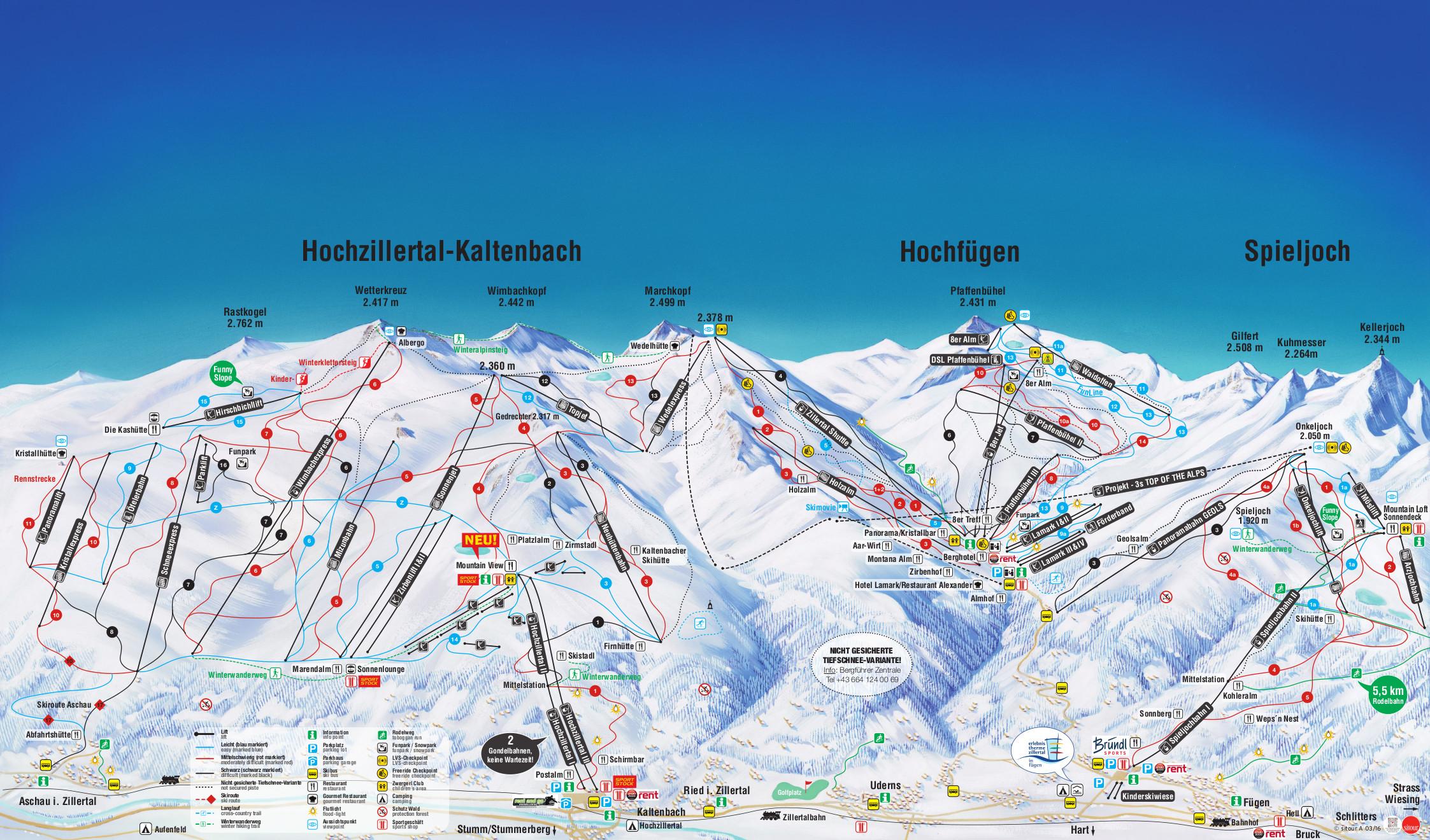 Hochzillertal-Kaltenbach Piste / Trail Map