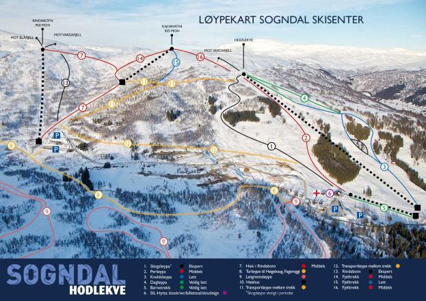 Hodlekve Skisenter Piste / Trail Map