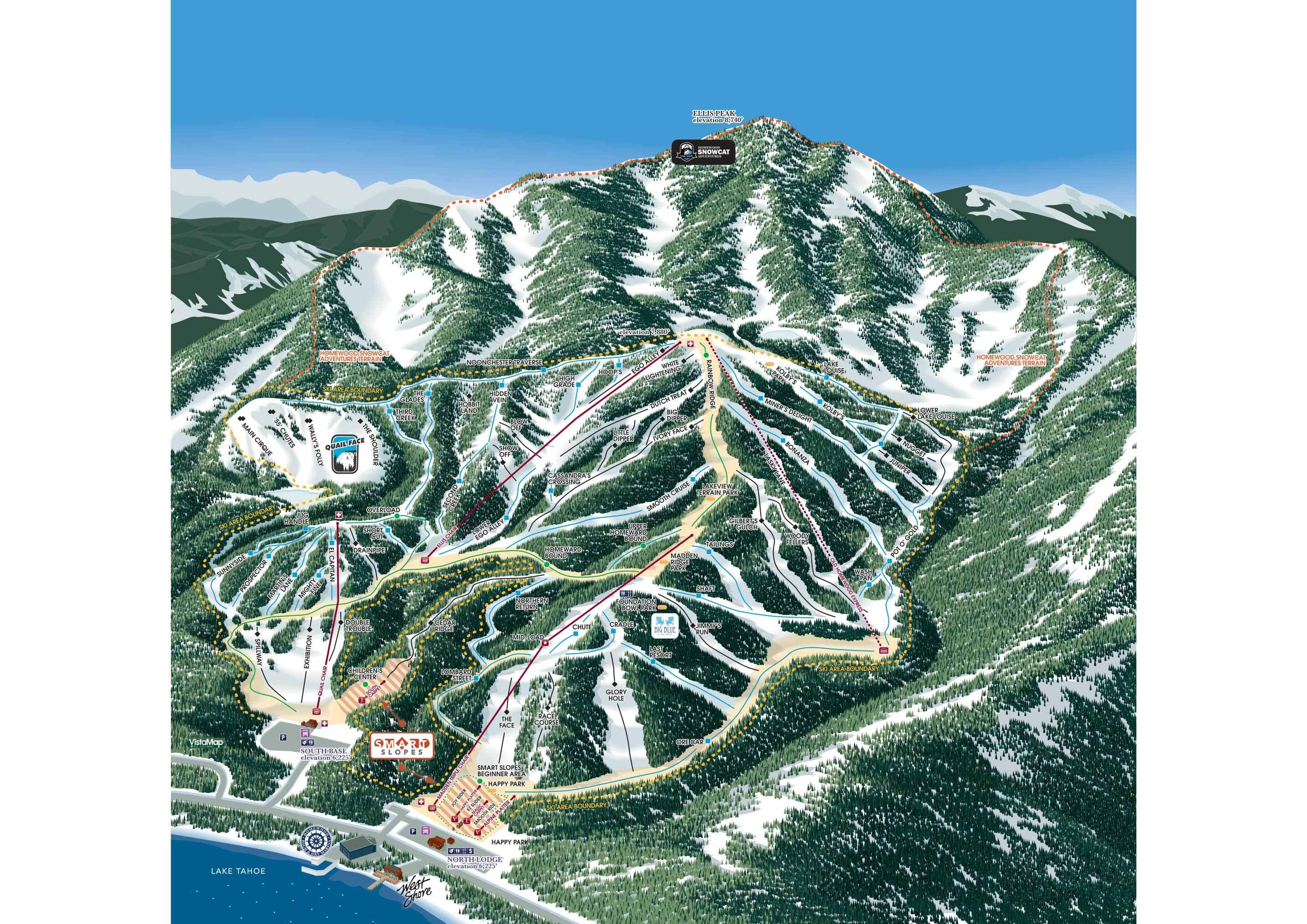 Homewood Mountain Resort Piste / Trail Map