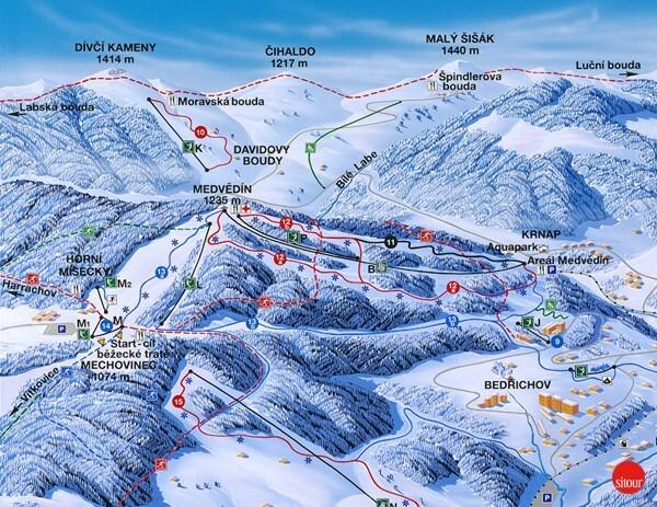 Horní Mísečky - Medvědín Piste / Trail Map