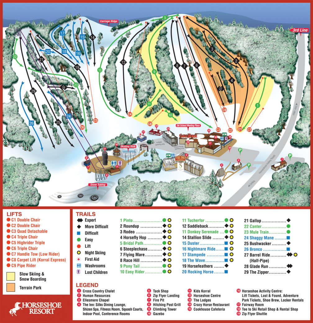 Horseshoe Resort Piste / Trail Map