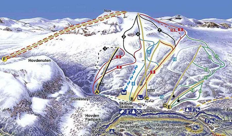 Hovden Piste / Trail Map