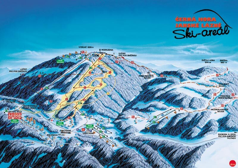 Jánské Lázně - Černá hora Piste / Trail Map