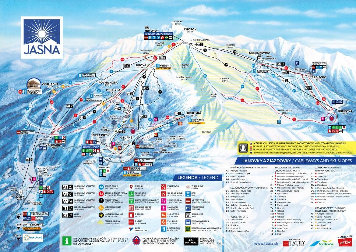 Jasná - Chopok Piste / Trail Map