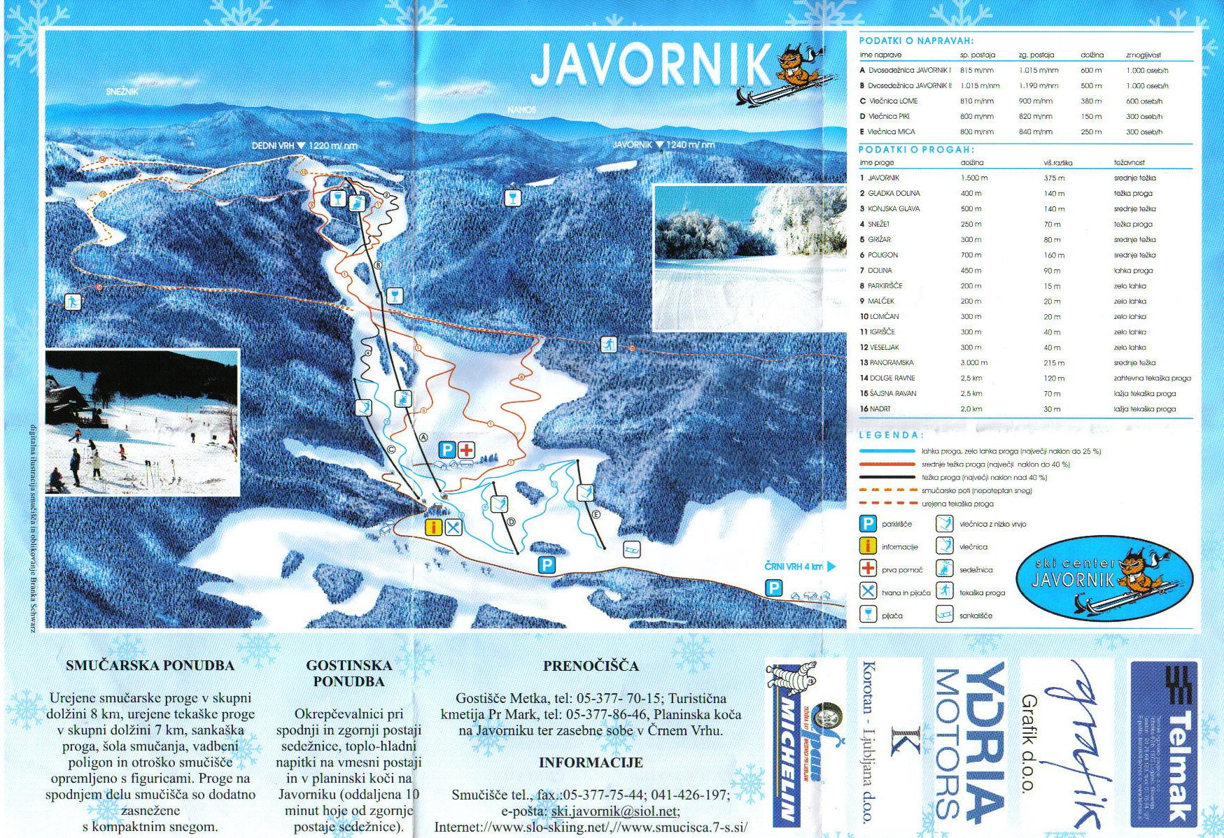 Javornik - Crni Vrh Piste / Trail Map