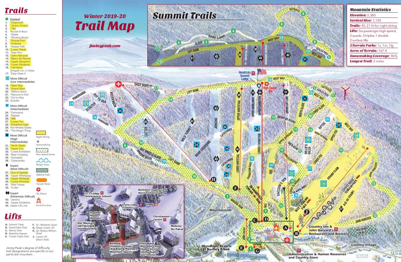 Jiminy Peak Piste / Trail Map