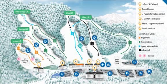 Jisan Forest Resort Piste / Trail Map