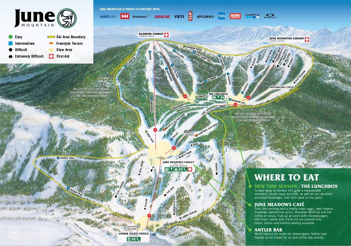 June Mountain Piste / Trail Map