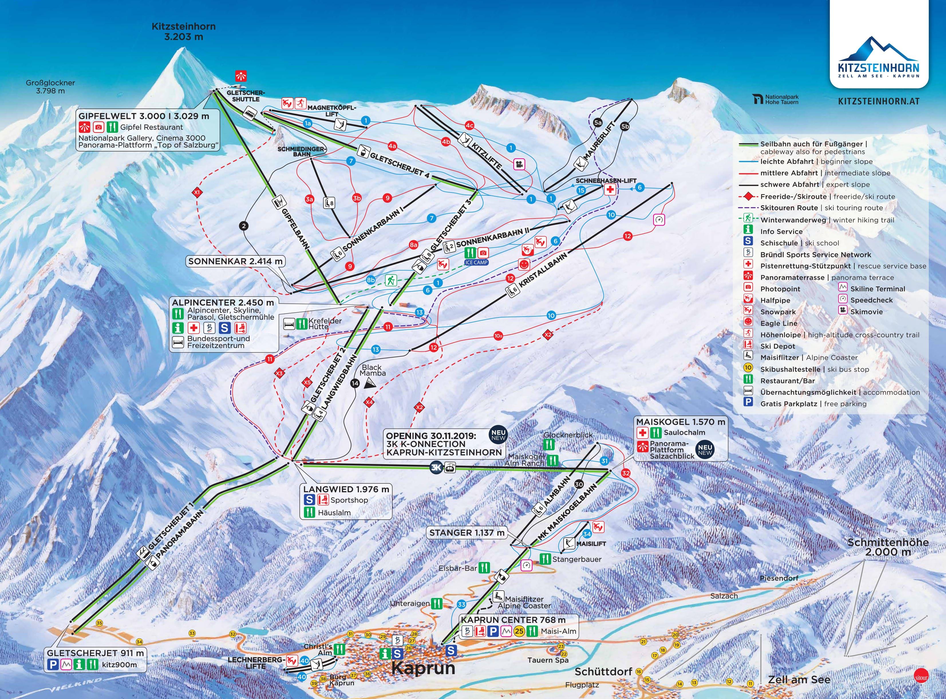 Kaprun/Maiskogel Piste / Trail Map