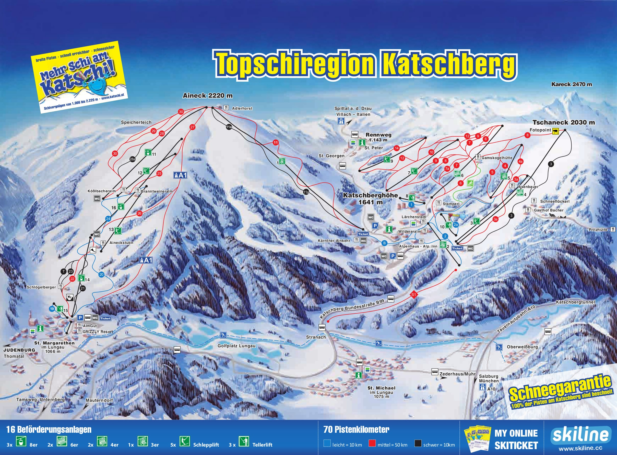 Katschberg-Aineck Piste / Trail Map