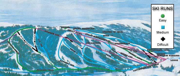 Kelly Canyon Ski Area Piste / Trail Map