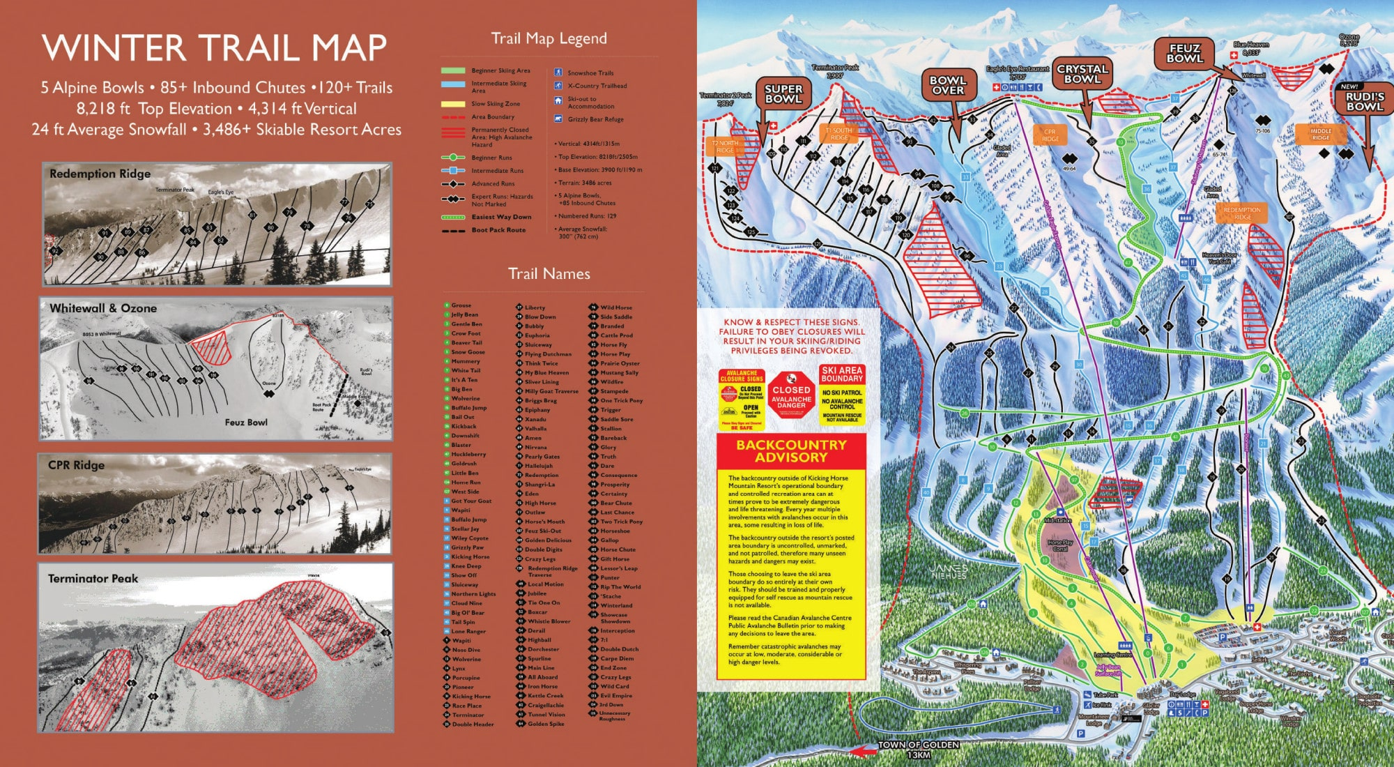 Kicking Horse Piste Map / Trail Map on kicking horse skiing, red mountain ski map, banff ski map, lake louise ski map, kicking horse bike park, kicking horse summer,