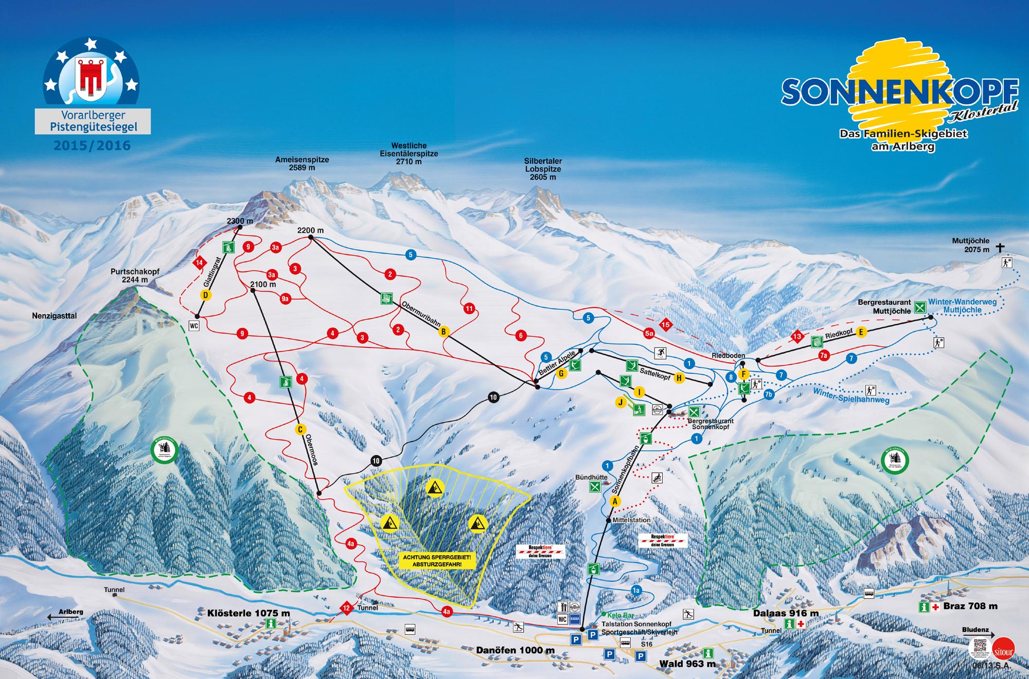 Klösterle/Sonnenkopf Piste / Trail Map
