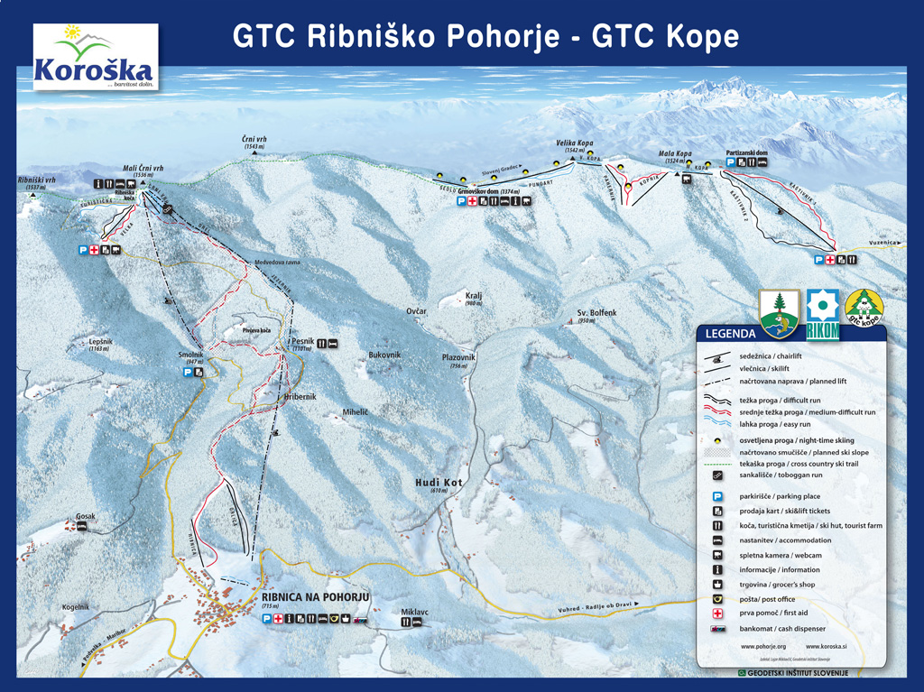 Kope Mountain Piste / Trail Map