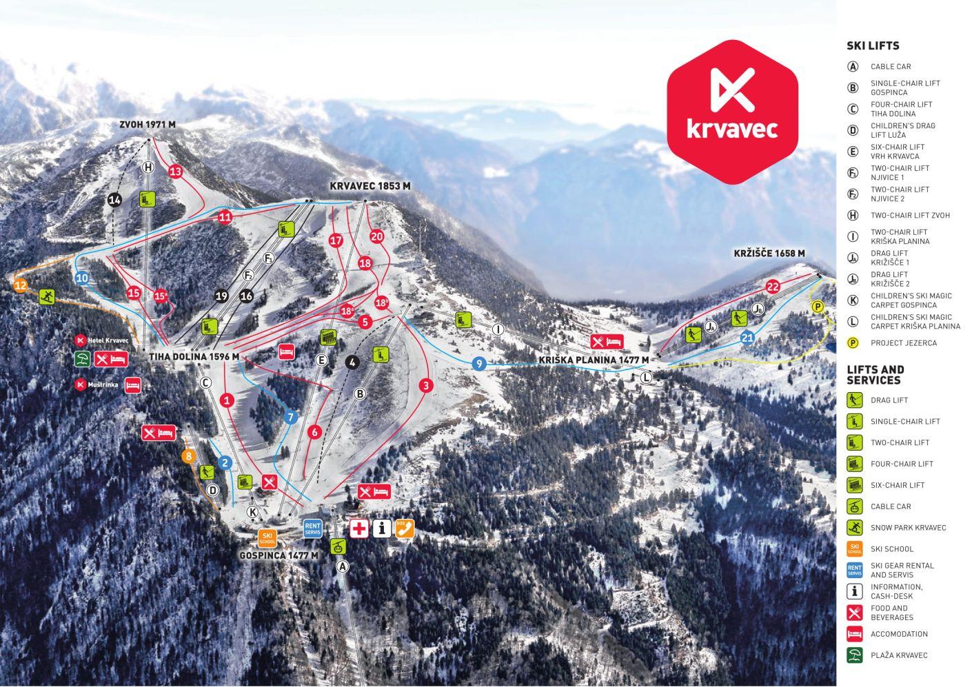 Krvavec Piste / Trail Map