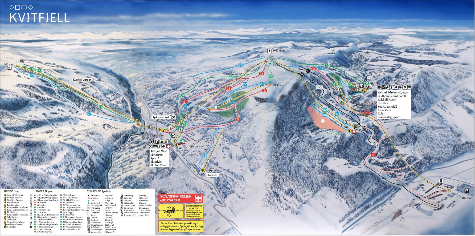 Kvitfjell Alpine Centre Piste / Trail Map