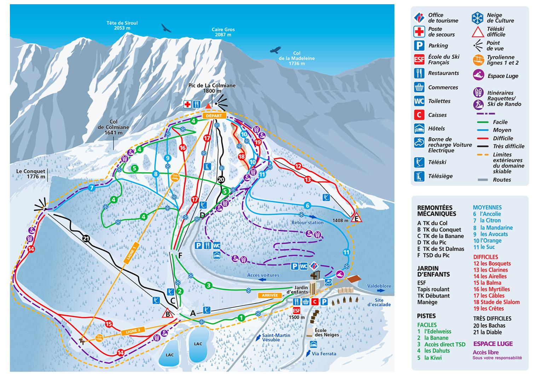 La Colmiane Piste / Trail Map
