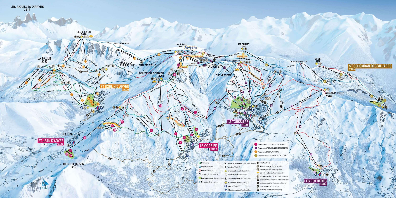 La Toussuire (Les Sybelles) Piste / Trail Map