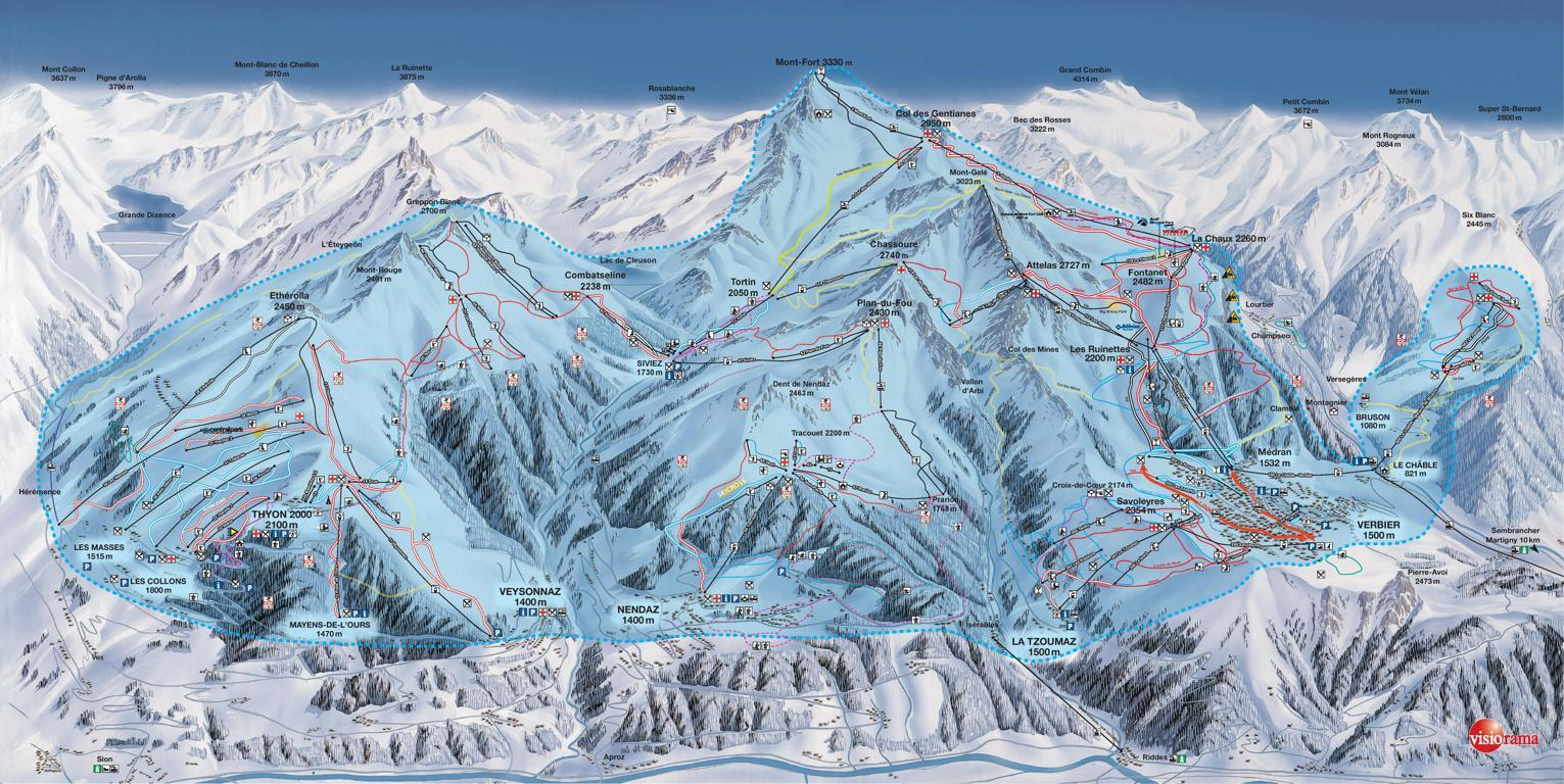La Tzoumaz Piste / Trail Map