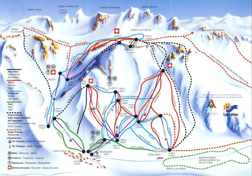 Las Leñas Piste / Trail Map