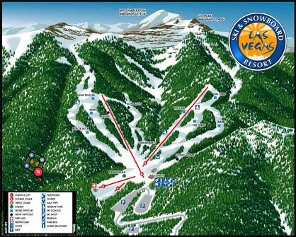 Las Vegas Ski and Snowboard Resort Piste / Trail Map