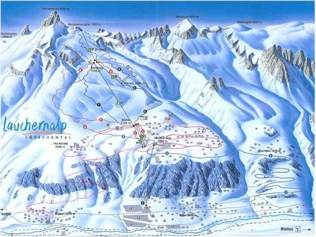 Lauchernalp - Lötschental Piste / Trail Map