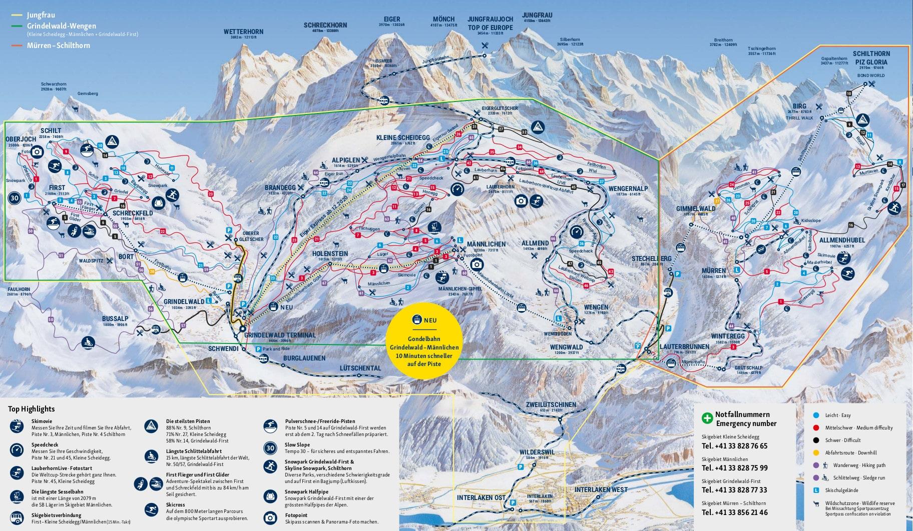 Lauterbrunnen Piste / Trail Map