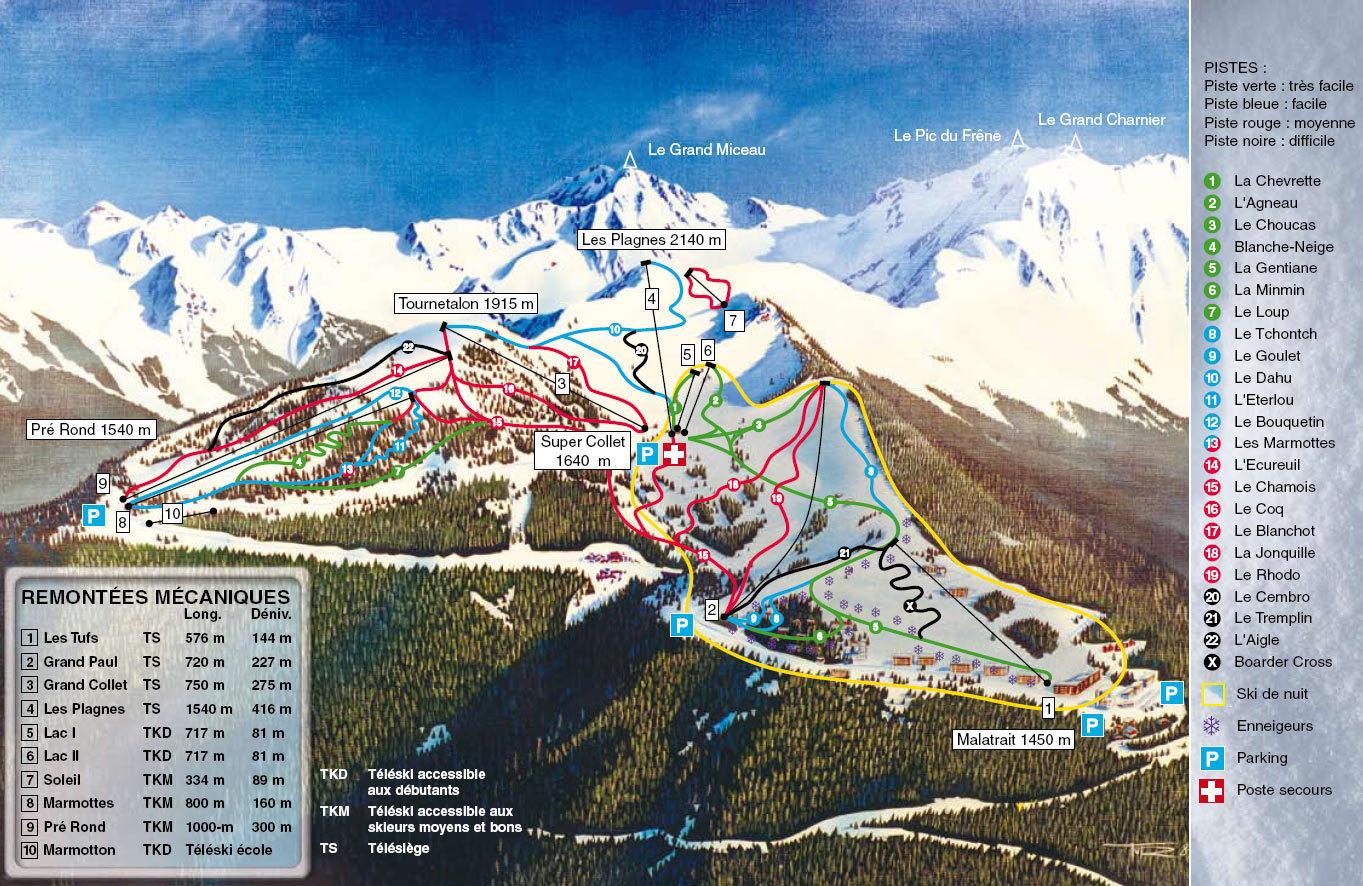 Le Collet d'Allevard Piste / Trail Map