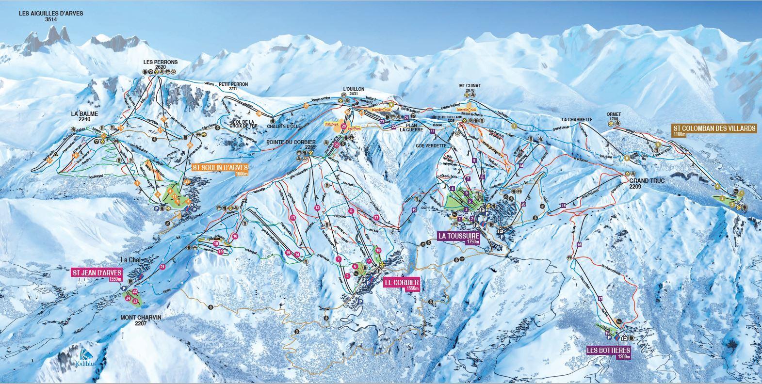 Le Corbier Les Sybelles Piste Map Trail Map