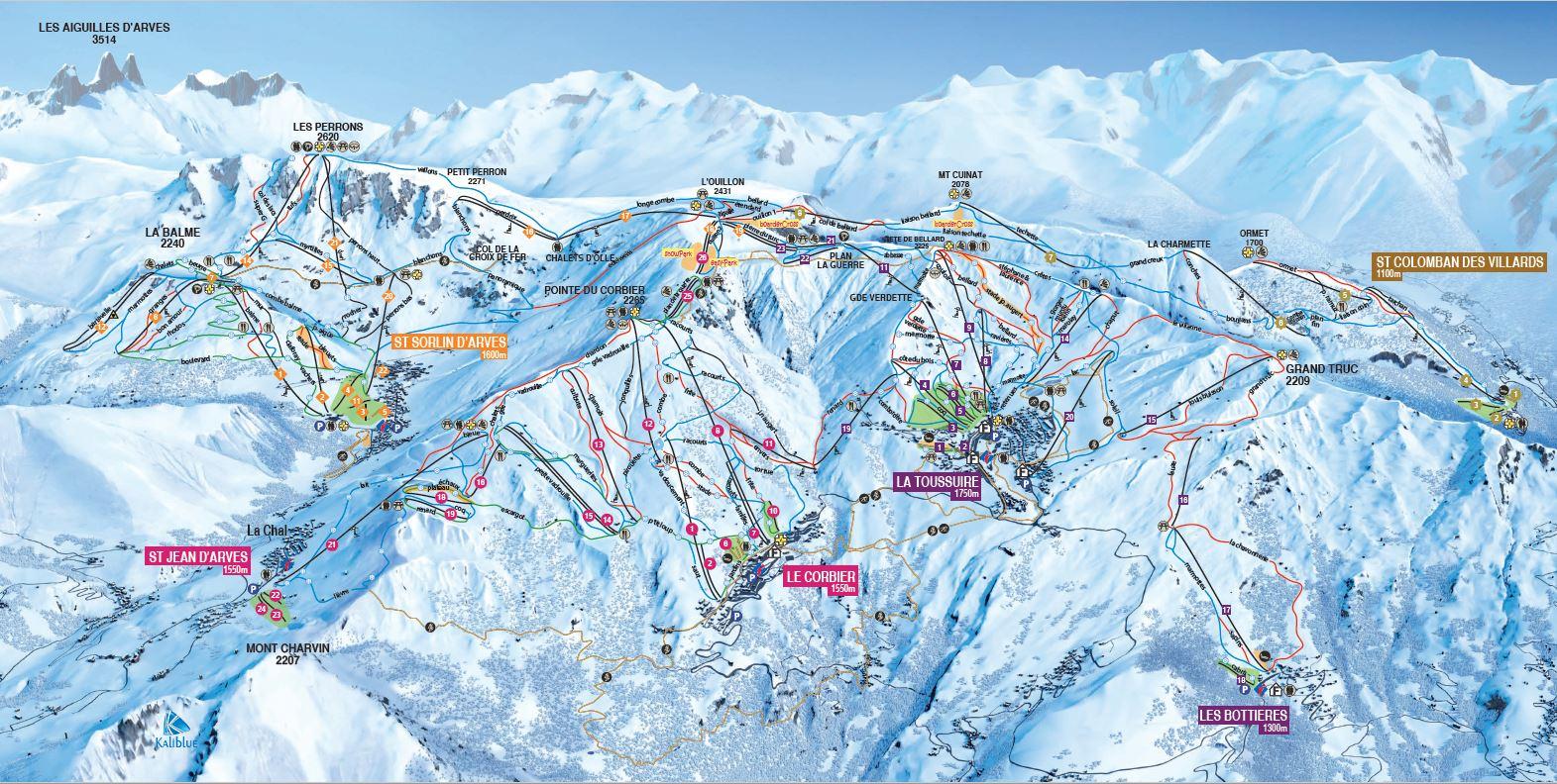 Le Corbier (Les Sybelles) Piste / Trail Map