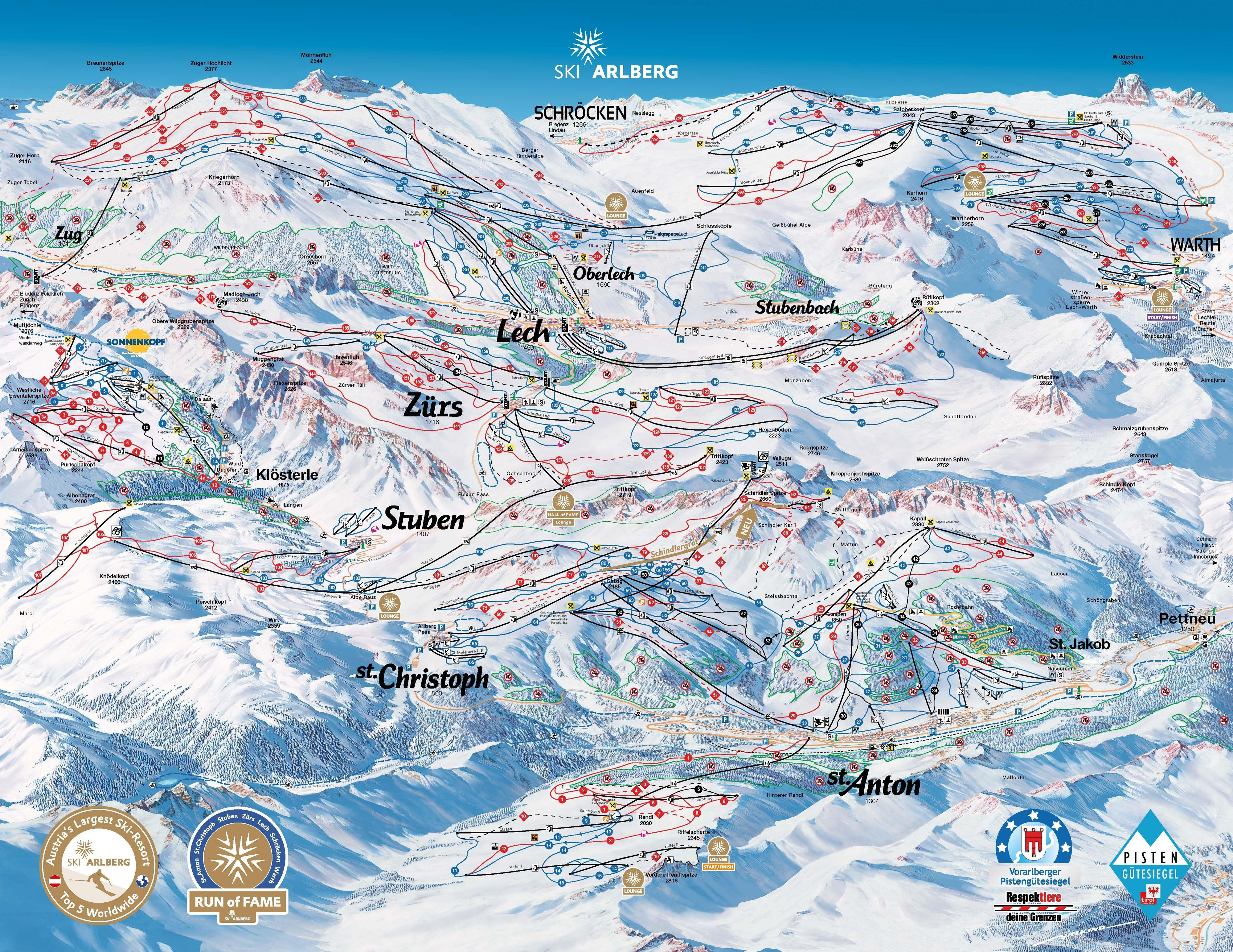Lech Piste Map Lech Ski Resort Guide, Location Map & Lech ski holiday accommodation Lech Piste Map