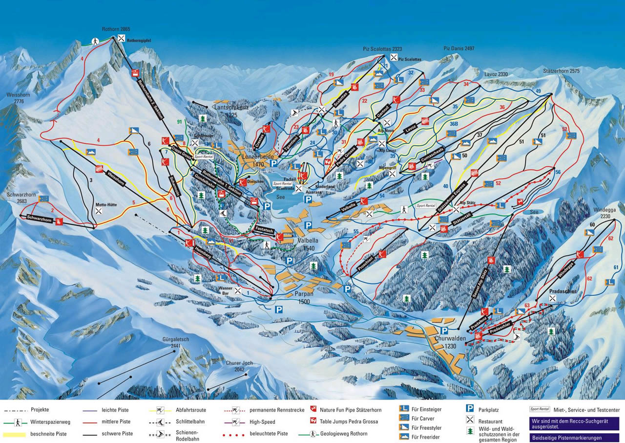 Lenzerheide Piste Map Trail Map high res