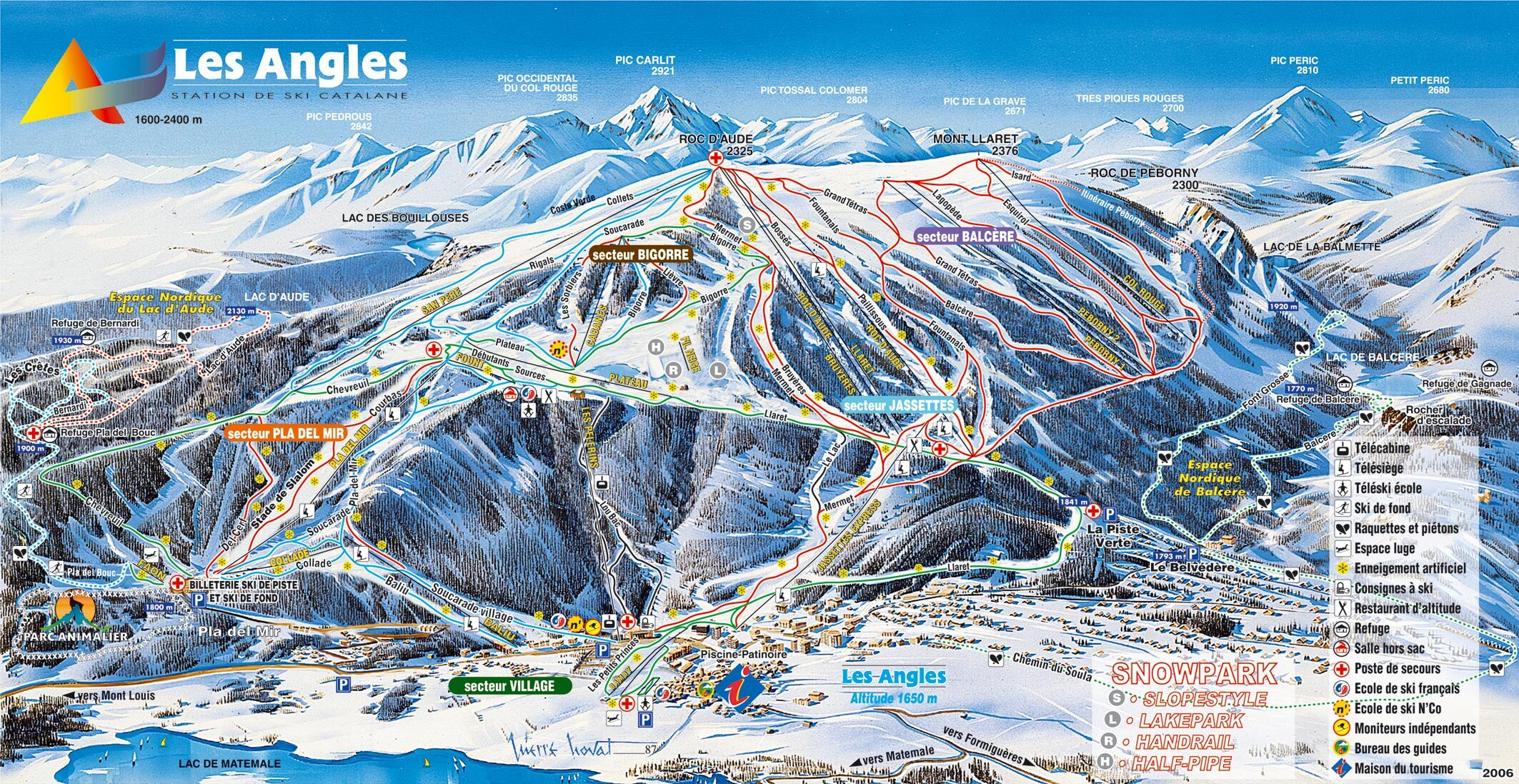 Les Angles Piste Map Trail Map