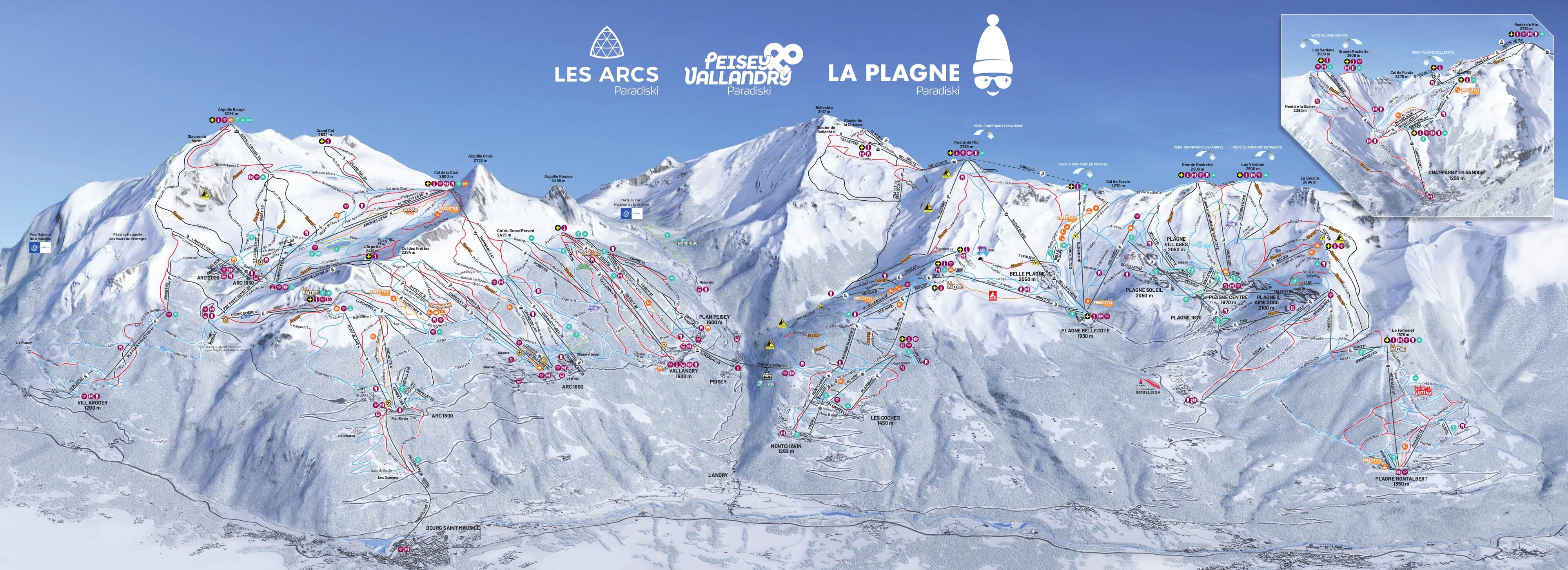 Les Arcs Piste Map Trail Map