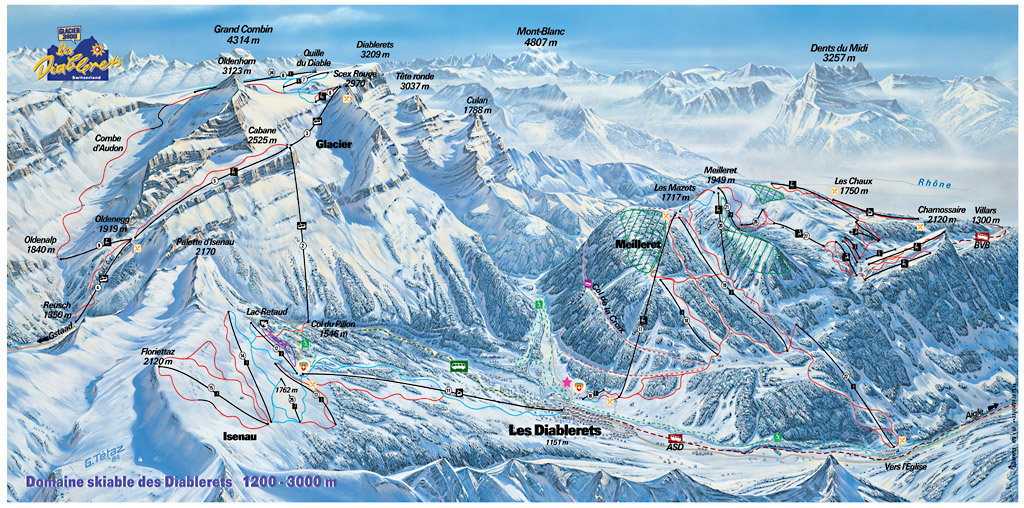 Les Diablerets Piste Map Trail Map