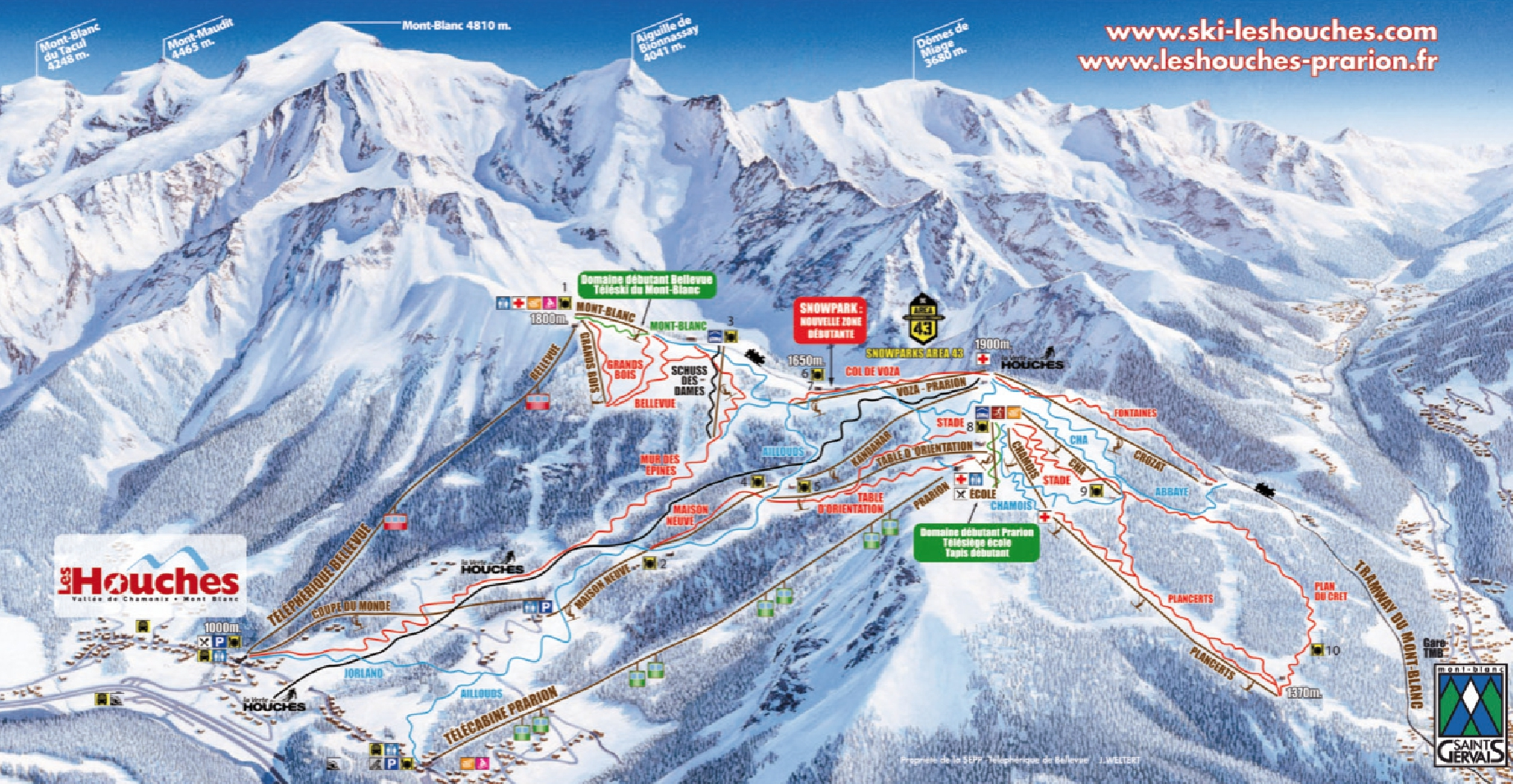 Les Houches Piste Map Trail Map