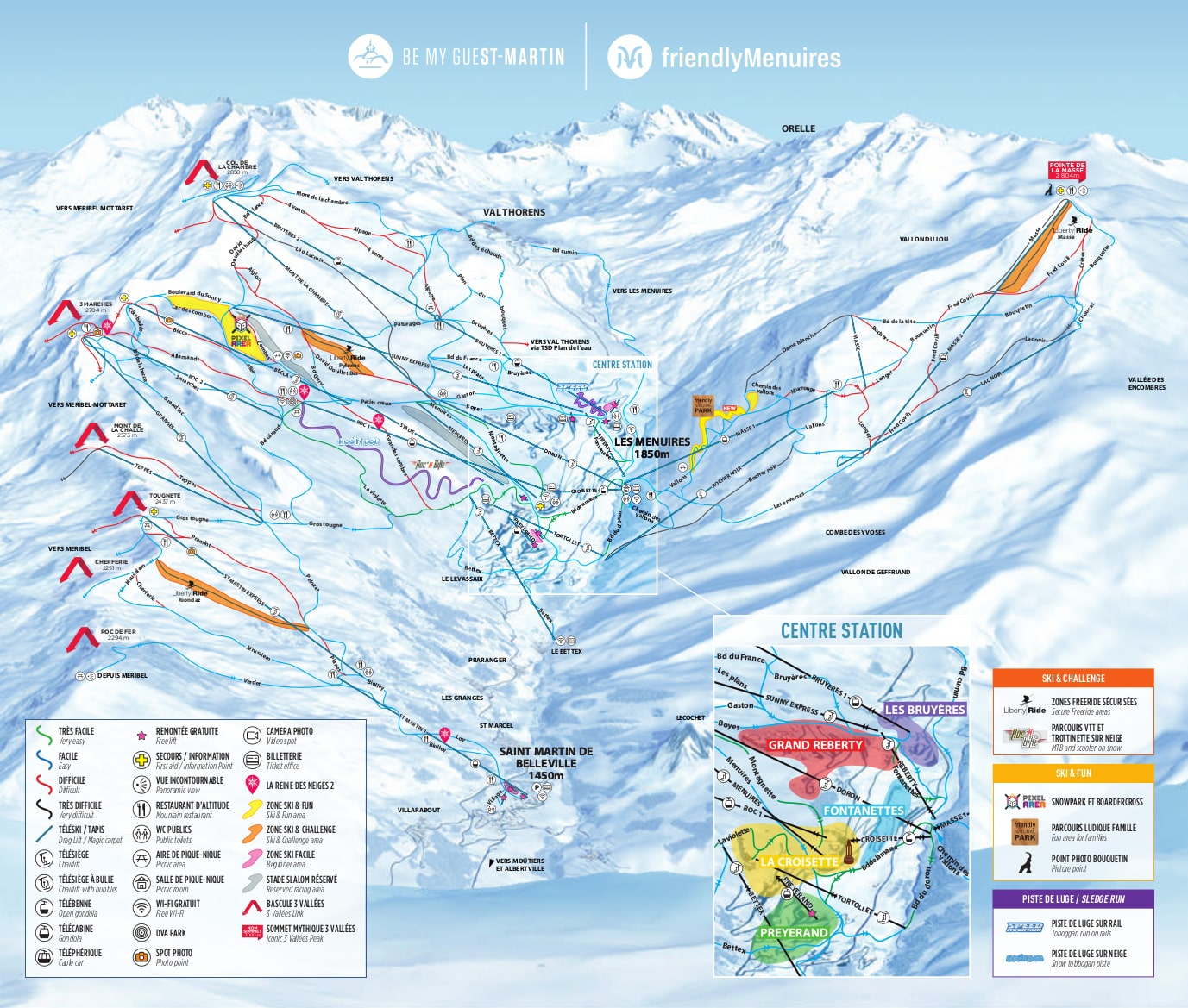 Les Menuires Piste Map Trail Map high res