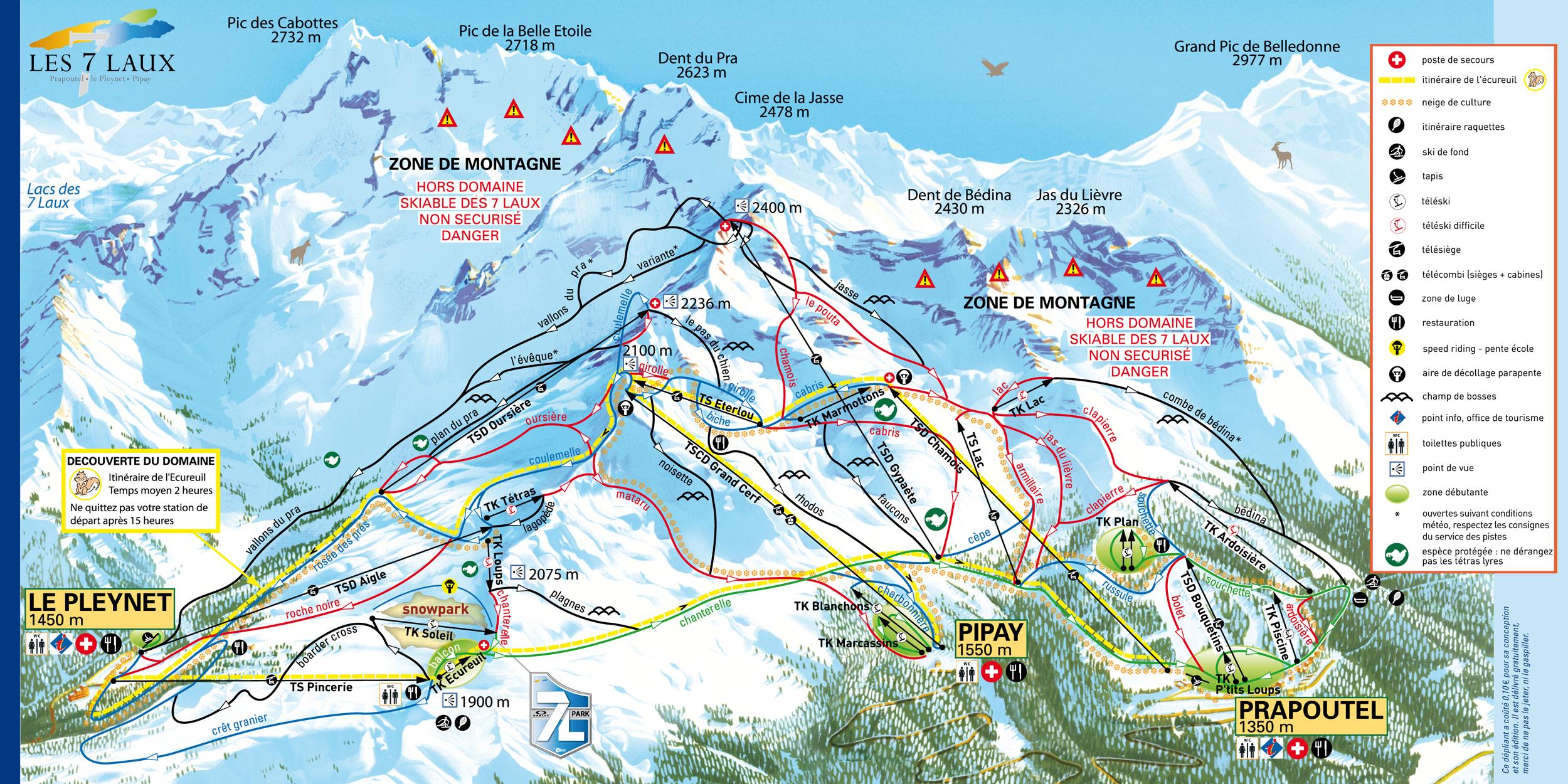 Les 7 Laux Piste / Trail Map