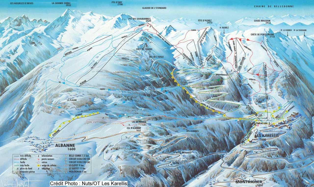 Les Karellis Piste / Trail Map
