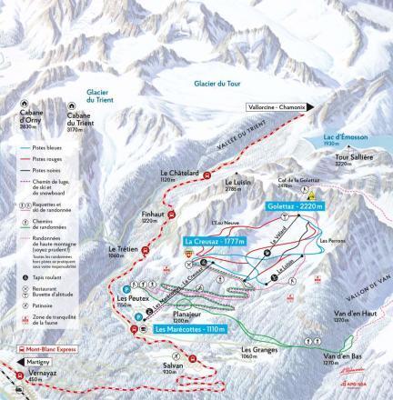 Les Marécottes - Salvan Piste / Trail Map
