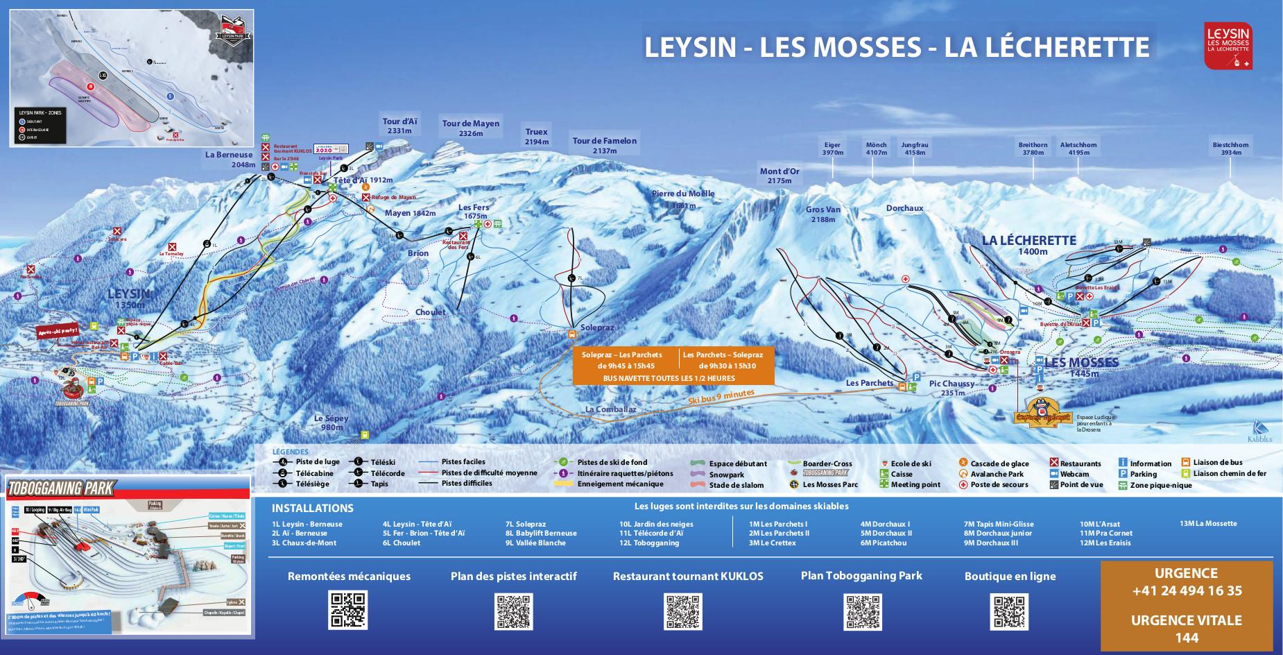 Les Mosses - La Lécherette Piste / Trail Map