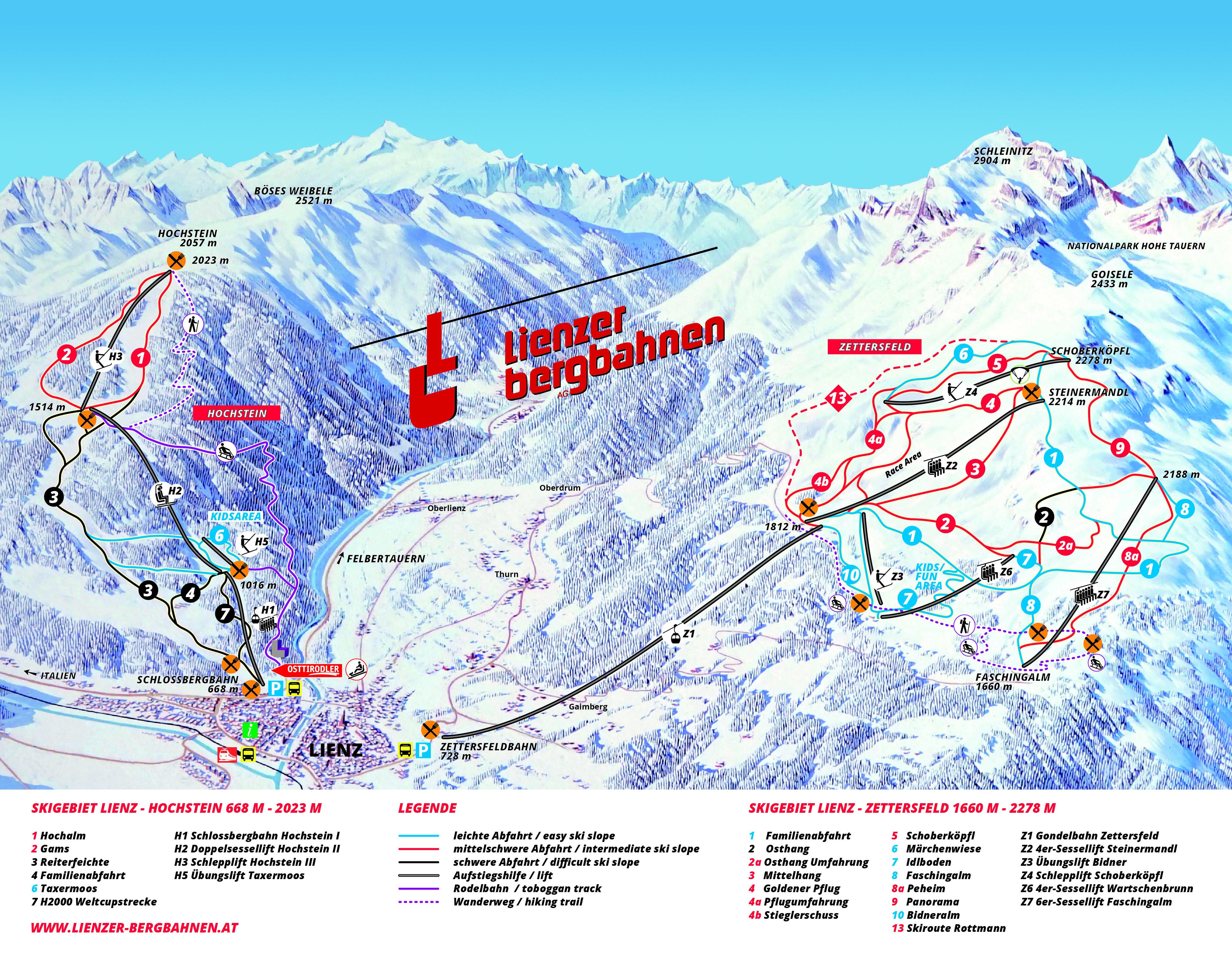 Lienz/Zettersfeld Piste / Trail Map